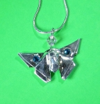 Silver Butterfly with Crystals Necklace